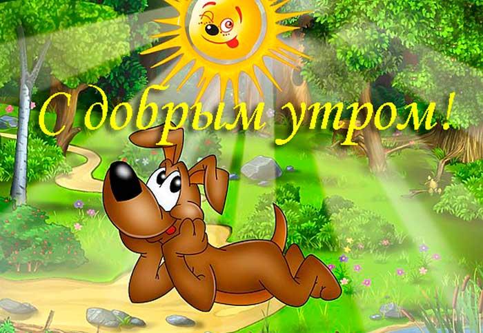прикольный пес с пожеланиями доброго утра