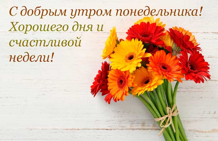 букет цветов и пожелание удачной недели