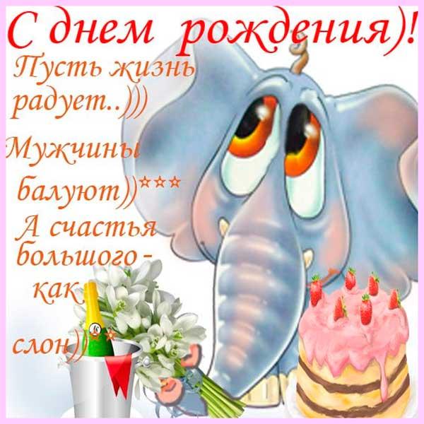 прикольный слон и пожелание