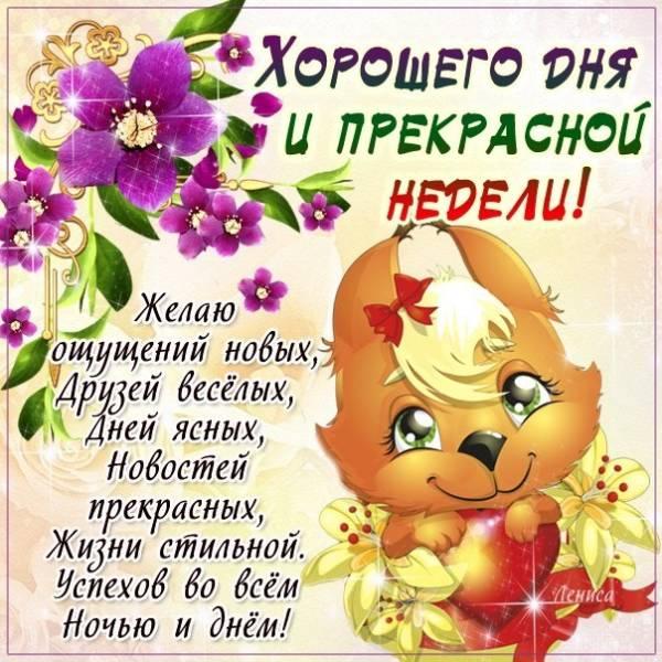 пожелание хорошего дня и прекрасной недели