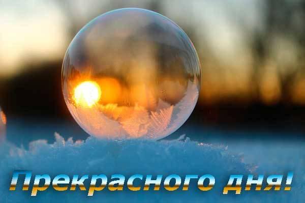 шар на снегу и пожелание